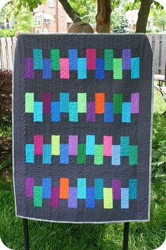 totally modern and easy quilt with another color besides white!