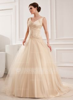 Wedding Dresses - $176.99 - Ball-Gown V-neck Chapel Train Satin Tulle Wedding Dress With Lace Beadwork (002012825) http://jjshouse.com/Ball-Gown-V-Neck-Chapel-Train-Satin-Tulle-Wedding-Dress-With-Lace-Beadwork-002012825-g12825