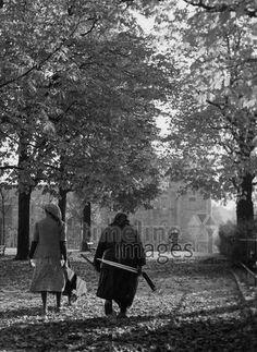 Frauen im Hofgarten in München, 50er Jahre Stöhr/Timeline Images #black #white #schwarz #weiß #Fotografie #photography #historisch #historical #traditional #traditionell #retro #vintage #nostalgic #Nostalgie #München #Munich #50er #1950er #Stimmung #Atmosphäre #Hofgarten #Laub #Laubsammler #Abfallsammler #Allee #Bäume Timeline Images, Retro Vintage, Painting, Courtyard Gardens, Light And Shadow, White Photography, The Fifties, Monochrome, Woman