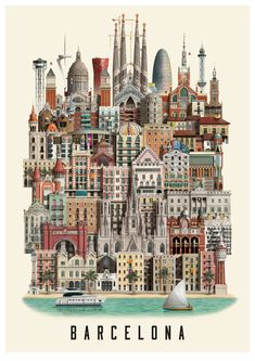 This Barcelona poster by Martin Schwartz depicts some of Barcelona's most iconic and famous buildings. It captures the very soul of this city. Barcelona Travel, Barcelona Spain, Abstract City, Famous Buildings, Voyage Europe, City Illustration, City Maps, Urban Sketching, Travel Scrapbook