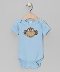 Take a look at this Petunia Petals Blue Monkey Bodysuit - Infant by Petunia Petals on #zulily today!