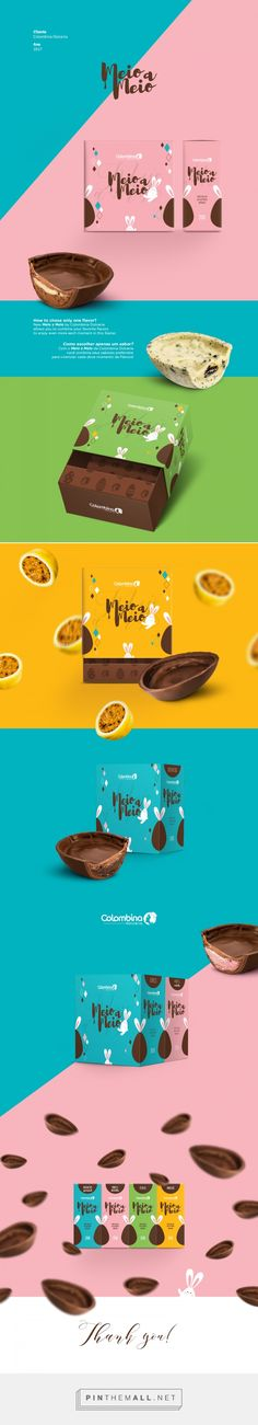 Meio a Meio Easter Eggs - Colombina Doceira- by Crislaine Art. Source: Behance. #SFields99 #packaging #design #inspiration #sweets #chocolate #Easter #colorful