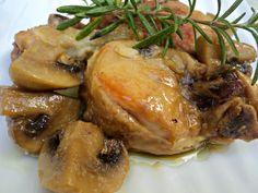 Pollo a la cazuela con champiñones