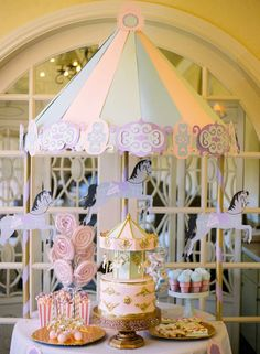 """This dessert table at this Carousel of Dreams Birthday Party is absolutely gorgeous!! Check out the party. See more party ideas and share yours at <a href=""""http://CatchMyParty.com"""" rel=""""nofollow"""" target=""""_blank"""">CatchMyParty.com</a>"""