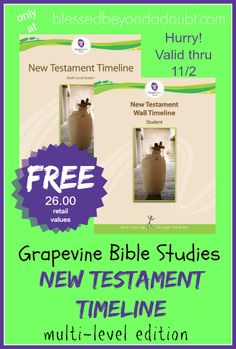 FREE Grapevine Bible Studies New Testament Timeline through NOVEMBER 2nd ONLY!!!