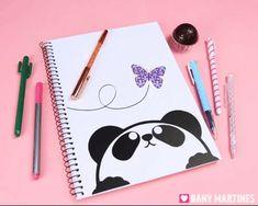 Caderno de panda lindo, fofo, kawaii, cute, butterfly, borboleta, volta as aulas, back to school