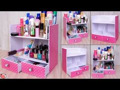 Hello everyone, In this video, we shown an easy and fast diy organizer craft idea for small stuff. You can also try this craft idea t. Diy Makeup Organizer Cardboard, Make Up Organizer, Makeup Storage Organization, Diy Storage Boxes, Diy Cardboard Furniture, Cardboard Box Crafts, Foam Board Crafts, Carton Diy, Diy Karton