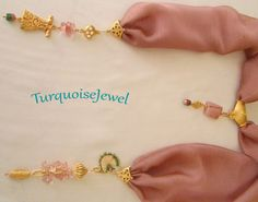 Pink Salmon Chiffon Scarf Necklace, Authentic Handmade Jewelry, Gemstone pendant by TurquoiseJewel on Etsy