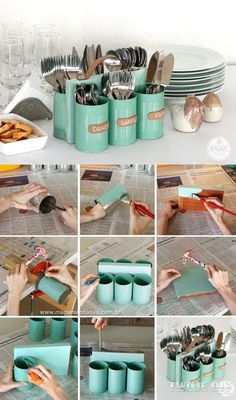 DIY utensil holder...would make bringing things out to the picnic table faster.  I may not have to go back 15 times for another fork or spoon!