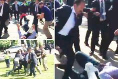 Turkish presidents bodyguards batter Washington DC protesters leaving them covered in blood while leader meets Trump at the White House
