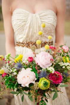 Bright and wild bouquet for the offbeat bride | photo by Christina Lilly, flowers by Wallflower Florist