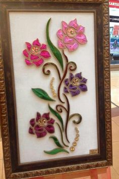 G Thread Art, Thread Painting, Cuadros Diy, Clay Wall Art, Nail String Art, Christmas Arts And Crafts, String Art Patterns, Stained Glass Flowers, Prego