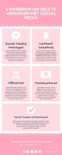 Droom jij om te werken met, in en van Social Media & Digitale Marketing? Tof! Social Media is heel breed en je kunt er op diverse manieren je professie van maken. Lees hier de infographic met 5 populaire, slimme manieren om geld te verdienen middels Social Media en laat je inspireren! #SocialMedia #SocialMediaAgency #ContentCreation #MakingMoneyWithSocialMedia #GeldverdienenmetSocialMedia #SocialMediaCompany Content Manager, Social Media Company, Facts, Words, Youtube, Earn Money, Youtubers, Horse, Youtube Movies