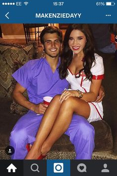 Met at work; cute fix up by nationalist friends. Doctor Halloween Costume, Couples Halloween, Cute Couple Halloween Costumes, Holiday Costumes, Cute Halloween Costumes, Family Halloween, Couple Costumes, Friend Costumes, Nurse Costume