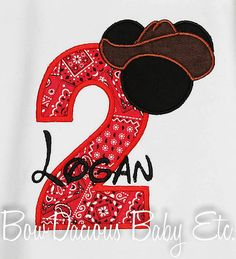 Cowboy Mickey Birthday Shirt  Remember, I can also make hair bows to match any of the shirts listed in my shop or pretty much anything for that matter :o) If youre interested in matching hair bows convo me for a custom listing before purchase. Singles purchased as a package with the shirt are $10.50 and sets are $15.00.  I can also make bibs, bloomers, or boxers to coordinate. Add them to your cart for combined shipping or convo for a custom listing.  All items are custom made in my smoke…