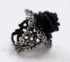 Black Rose Ring Silver Filigree Adjustable gothic Jewelry. €35.00, via Etsy.