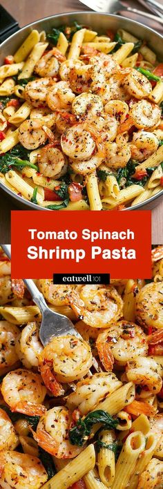 Tomato Spinach Shrimp Pasta Bold flavors star in this one pot dinner ready in 30 minutes. Al dente pasta is tossed with spicy grilled shrimps tomatoes fresh spinach garlic and a drizzle of o Think Food, I Love Food, Good Food, Seafood Recipes, Cooking Recipes, Healthy Recipes, Seafood Pasta, Shrimp And Spinach Recipes, Fish Recipes