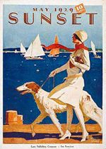 Woman with dog by Maurice Logan for Sunset cover, May 1929
