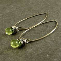 Lime Green Teardrop Earrings, Eco Friendly Jewelry, Little Glass Drops Gifts for Her Ready to Ship Summer Earrings Wire Wrapped Jewelry by adorned7 on Etsy