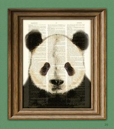 Panda Bear Art Print beautifully upcycled vintage by collageOrama, $6.99