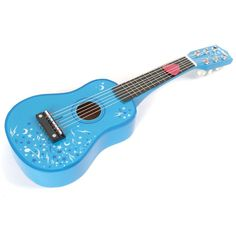Delightful wooden guitar features 6 nylon strings that can be tuned. Complete with a plectrum for strumming. Easy for little hands to hold too! Musical Toys For Kids, Star Designs, Argos, Acoustic Guitar, Wooden Toys, Musicals, Instruments, Blue, Hands