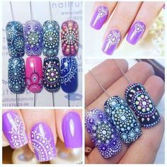 Beautiful nail art designs that are just too cute to resist. It's time to try out something new with your nail art. Get Nails, Fancy Nails, Pretty Nails, Hair And Nails, Mandala Nails, Dot Nail Art, Manicure E Pedicure, Nagel Gel, Fabulous Nails