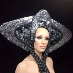 READY TO SHIP futuristic alien outer space royal Princess Queen Rhinestone Goddess silver Fantasy headdress headpeice wig