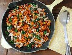 Skillet Sweet Potato, Sausage, and Spinach Hash Recipe Main Dishes, Breakfast and Brunch with sweet potatoes, apples, coconut oil, cinnamon, chicken sausage, baby spinach, yellow onion, salt, pepper