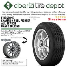 Firestone Champion Fuel Fighter All Season Grand Touring. Tyre Companies, Firestone Tires, Service Map, Rolling Resistance, Grand Tour, Touring