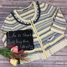 Nic And Zoe Womens Cardigan Size L Beaded Yellow Navy Striped Soft Stretch *  | eBay