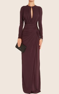 MACloth Sheath Long Sleeves Jersey Maxi Evening Formal Gown Mother of the Brides Dress