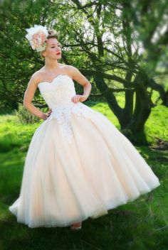 Apricot tea length dress with tulle skirt and lace bodice by Mooshki