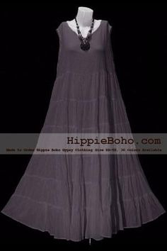 978192f759697 No.005 - Plus Size Gray Cotton Maxi Long Dress Bohemian Summer Clothing  Tiered Full