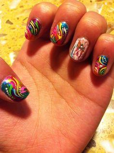 Busy Rainbow Nails