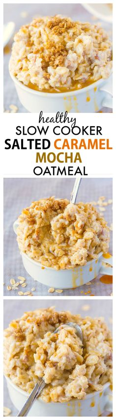 Healthy Slow Cooker Salted Caramel Mocha Oatmeal- Creamy, stick-to-your-ribs recipe which is so healthy too- A super simple prep to the best tasting oatmeal ever! {gluten free, vegan, high protein and sugar free option}- thebigmansworld.com