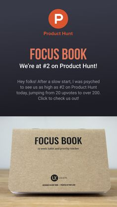Focus Book, our new habit and priority tracking notebook, has reached as high as on Product Hunt today! Check it out! Getting Things Done, Priorities, Check It Out, Work On Yourself, Reflection, Notebook, Books, Livros, Get Stuff Done
