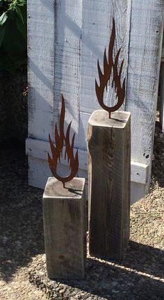 Deko-Objekte - Dekoblöcke Landhaus Kerzenhalter Set Vintage NEU - ein Designerstück von Kistenjack bei DaWanda