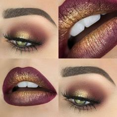 Christmas makeup✨❄ ➡➡➡ urstyle.com #makeup #christmas #fashion #gold #style #urstyle