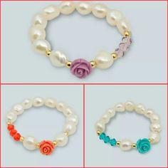 Pulsera de perla, zamak y cristal swaroski. $10.00 c/u