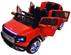Two-Seater Premium Ride On Electric Toy Car For Kids - Battery Powered - LED Lights - - RC Parental Remote Controller - Suitable For Boys and Girls - Red - Toys