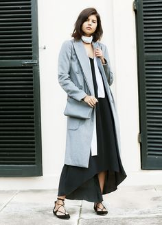 Style Tip: Wear a long coat over your slip dress and accessorize with a skinny scarf and lace-up flats.