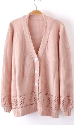 Lovely cardigan...More color on Ahai! #Pure #color #skirt #hollow #out #loose #multicolor #long #sweater #pink #ahai @AHAI