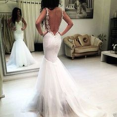 Sexy Spaghetti White/Ivory Backless Mermaid Wedding Dresses Bridal Gowns Custom