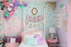 - The Fancy Shack: Pastel Girls Room Makeover Pastel Girls Room, Girls Bedroom Colors, Bedroom Girls, Bedroom Decor, Pastel Bedroom, Summer Bedroom, Baby Bedroom, Trendy Bedroom, Glitter Paint For Walls