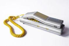 SWATCH Twin Phone Deluxe Telephone Handset Device Gray Swiss Design Multicolor Stripes Memphis Milano Landline Collectible 80s Vintage Retro – Sophistique Studio