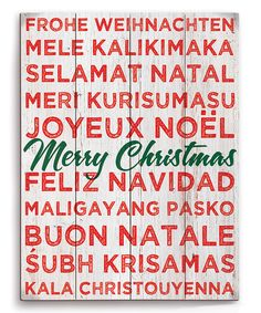 Look at this Green Cursive 'Merry Christmas' in 11 Languages Wrapped Canvas on #zulily today!