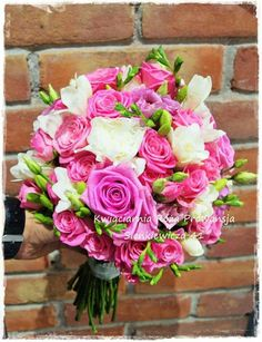 Bukiet ślubny z róży, eustomy, goździka i frezji :-)