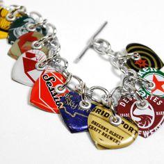 Recycled Jewelry Bottle Cap Charm Bracelet. 37.50, via Etsy.