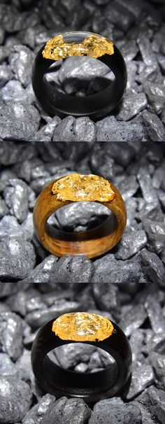Three round wood and resin rings: black hornbeam, oak and wenge