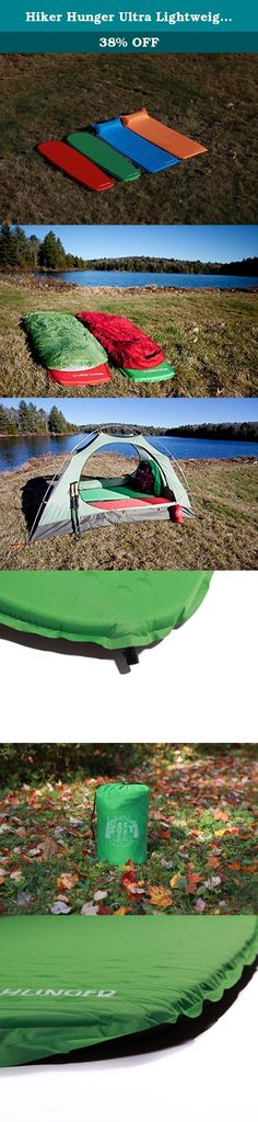 Hiker Hunger Ultra Lightweight Self Inflating Sleeping Pad - Built for Backpacking, Camping, Hiking, Hammocks, Tents, and More! (Green, Regular). We grew tired of having to choose between inexpensive pads made with cheap materials and over priced pads so we decided it was time to create the highest quality pad and offer a great price! We make our outdoor products for everyone to enjoy: thru hikers, day campers, backpackers, boy and girl scouts, and everyone in between. Our sleeping pad is...